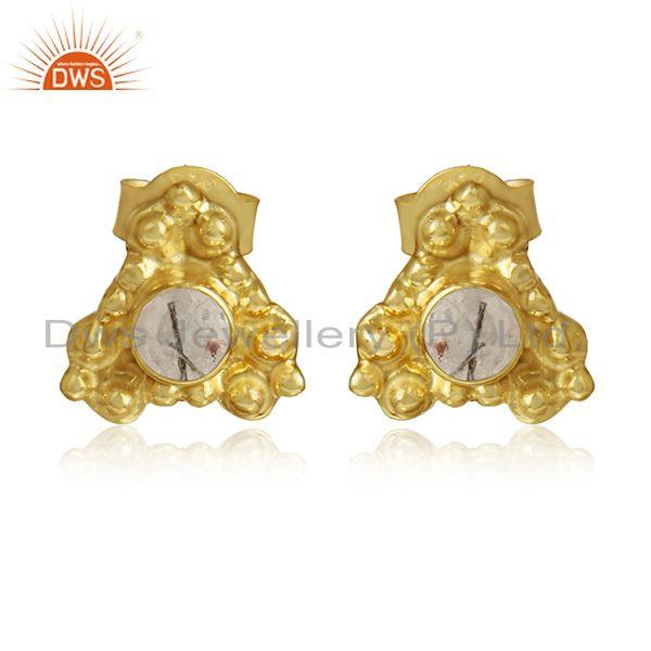 Black rutile gemstone gold plated silver stud earrings jewelry