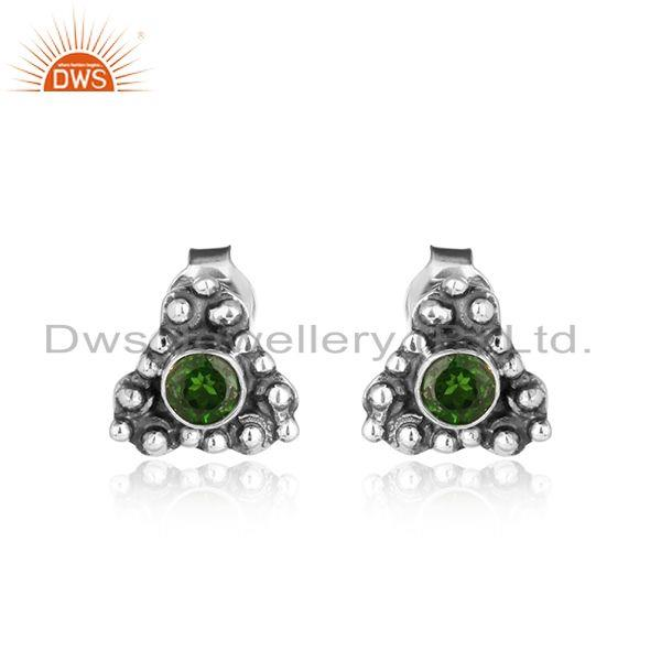 Chrome diopside gemstone oxidized 925 sterling silver stud earrings