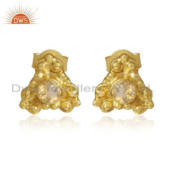 Citrine gemstone designer yellow gold plated silver stud earrings