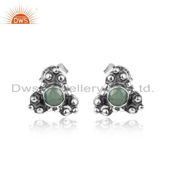 Designer Silver Oxidized Natural Emerald Gemstone Stud Earrings