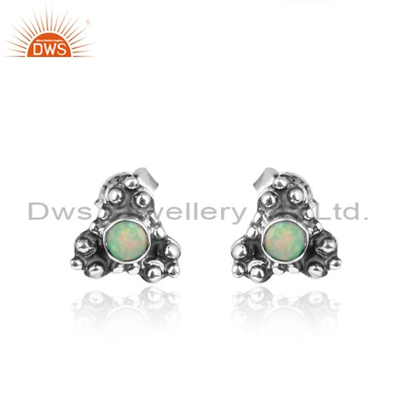 Ethiopian Opal Gemstone Oxidized Silver Handmade Stud Earrings
