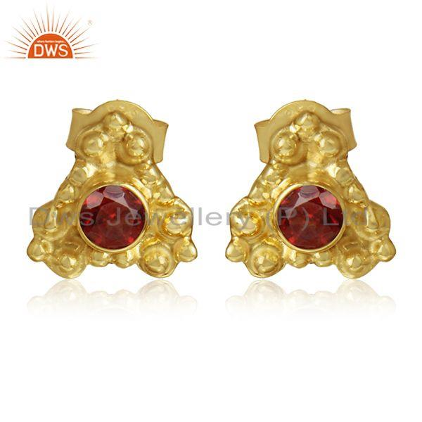 Designer Gold Plated Silver Garnet Gemstone Stud Earrings Jewelry