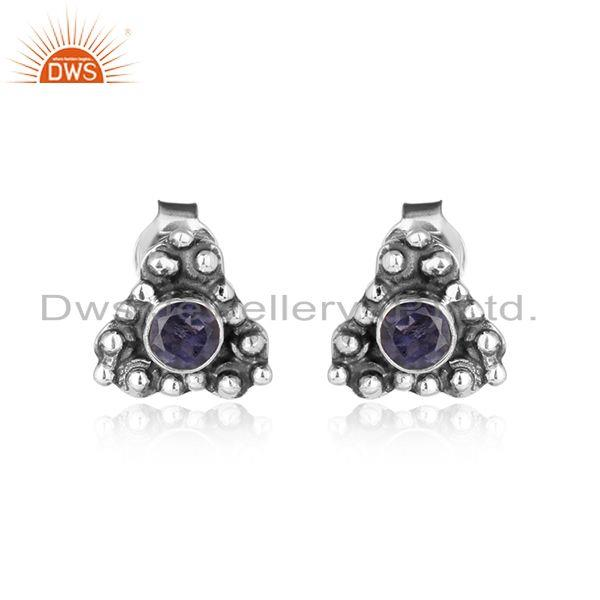 Iolite gemstone womens 925 silver oxidized handmade stud earrings