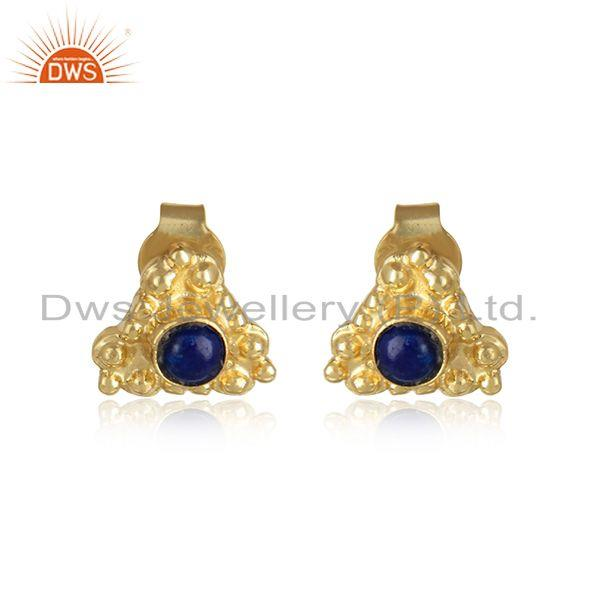 Lapis Lazuli Gemstone Womens Gold Plated Handmade Silver Earrings