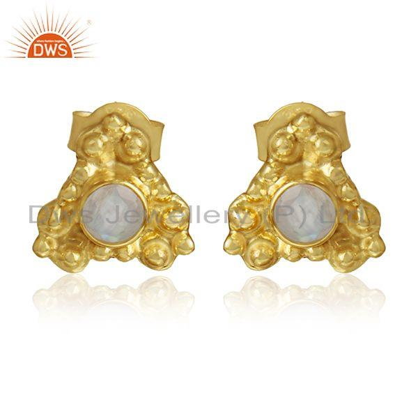 Rainbow moonstone gemstone designer silver gold plated earrings