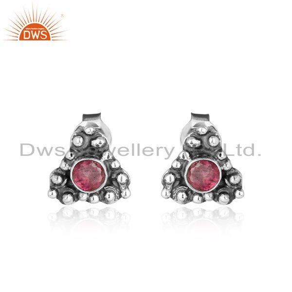 Pink tourmaline gemstone designer oxidized 925 silver stud earrings