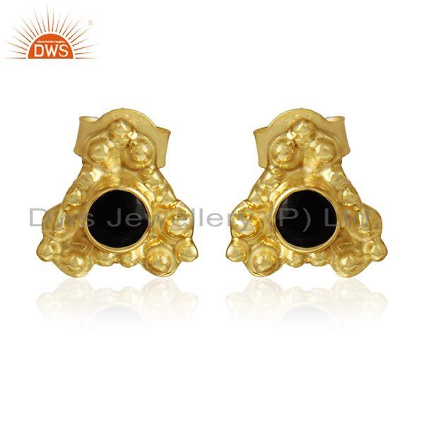 Natural black onyx gemstone silver designer gold plated earrings