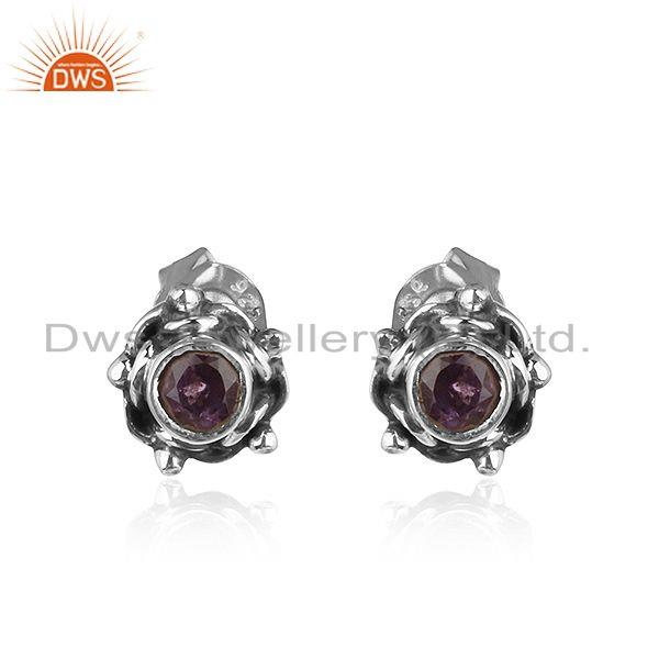 Amethyst Gemstone Antique Silver Oxidized Stud Earrings Jewelry