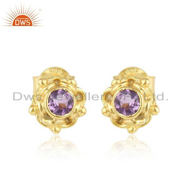 Round yellow gold plated silver amethyst gemstone stud earrings