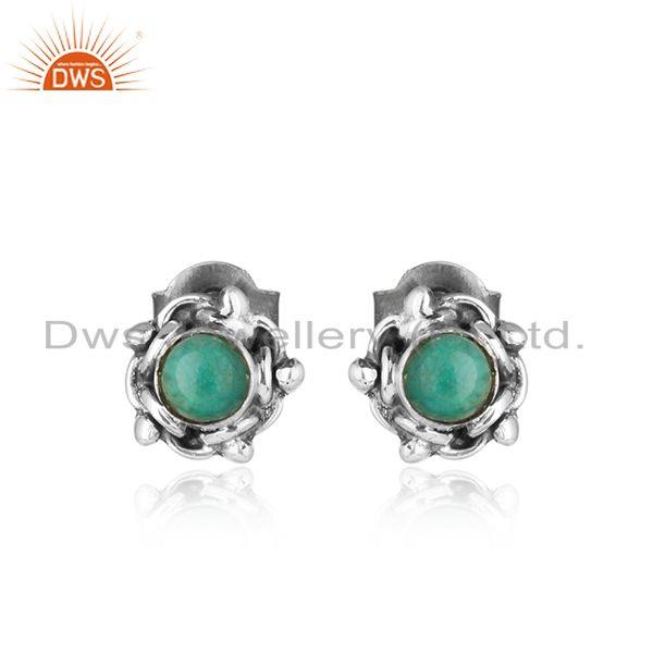 Arizona turquoise gemstone oxidized silver antique stud earrings