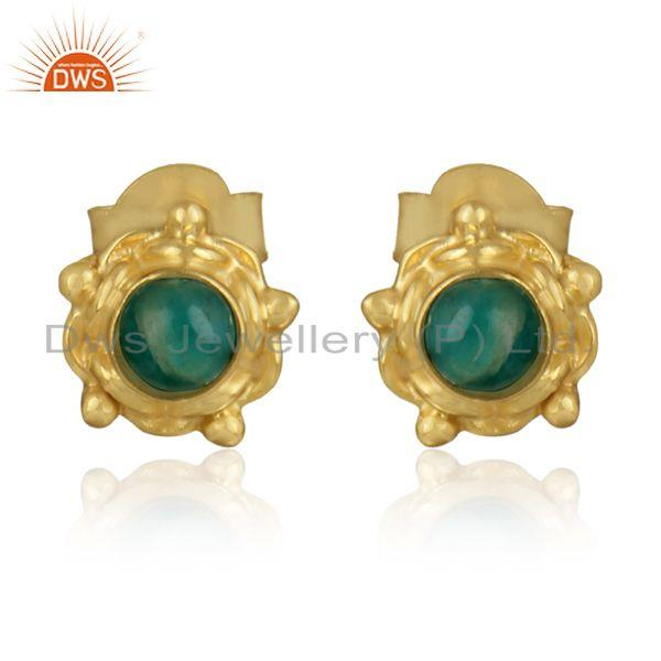 Amazonite gemstone designer 18k gold plated silver stud earrings
