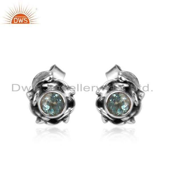 Round tiny oxidized silver blue topaz gemstone stud earrings