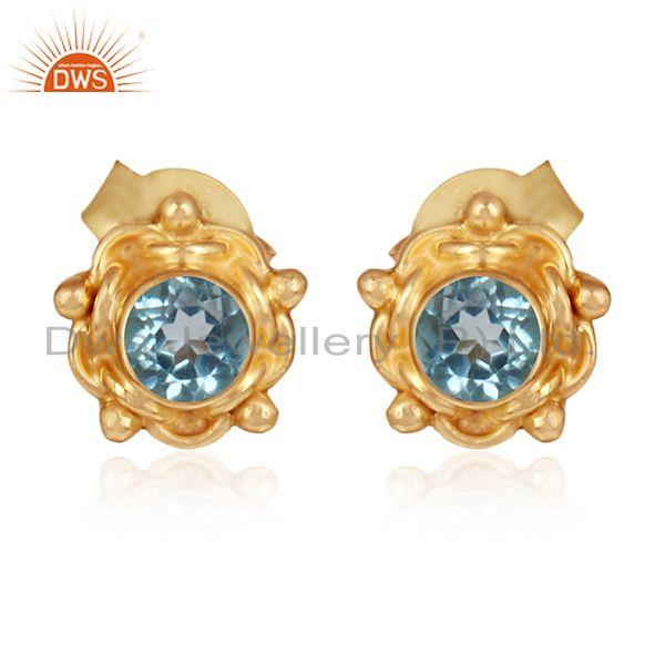 Round Gold Plated Silver Blue Topaz Gemstone Stud Earring Jewelry