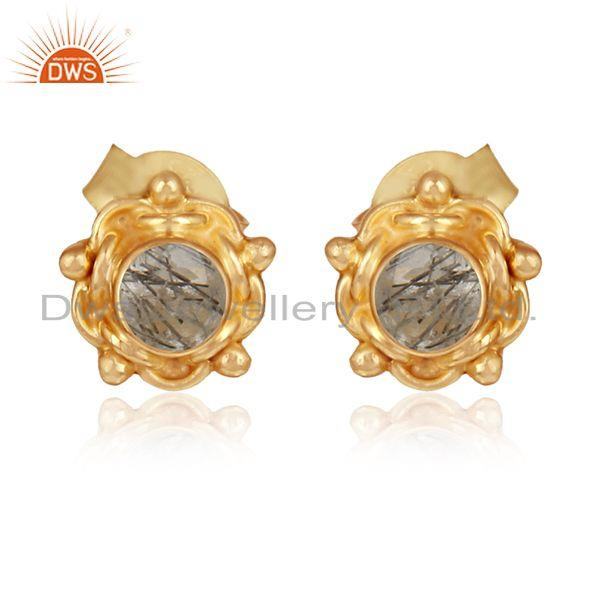 Black rutile gemstone designer gold plated silver stud earrings