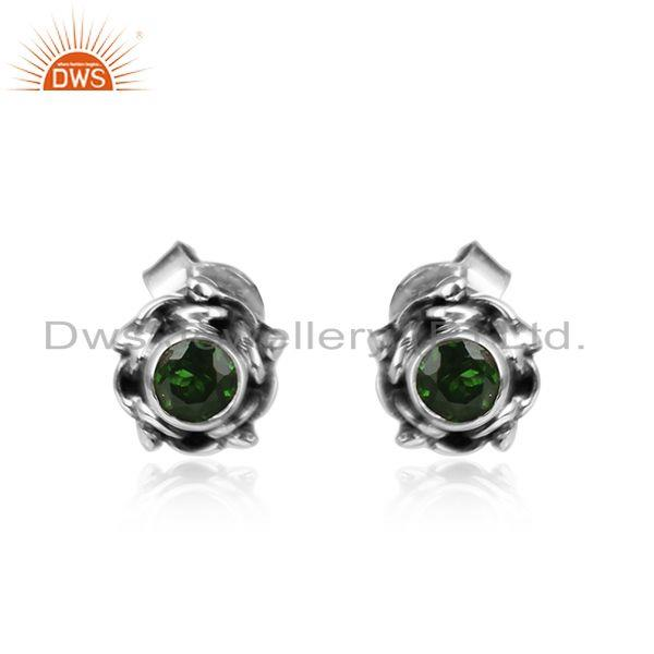 Chrome Diopside Gemstone Tiny Round Design Silver Oxidized Earring