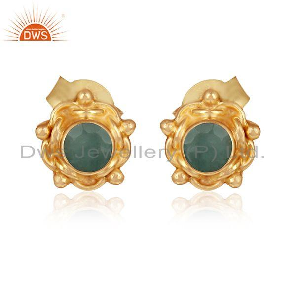 Natural emerald gemstone designer 18k gold plated silver earrings