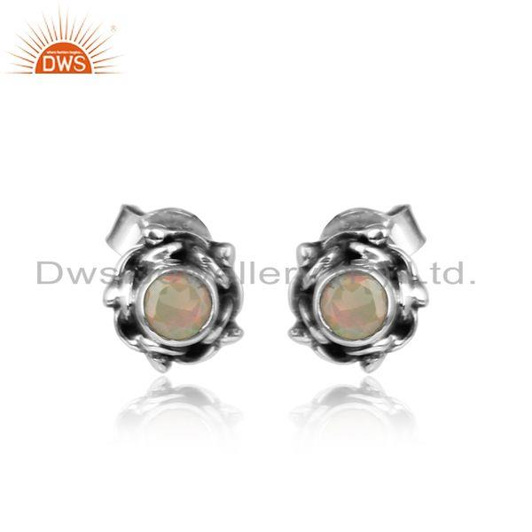Oxidized Plated Silver Ethiopian Opal Gemstone Tiny Stud Earrings