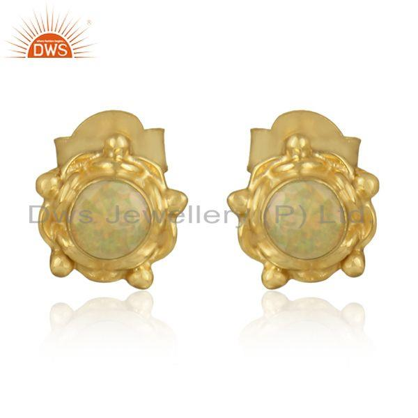 Round designer gold plated silver ethiopian opal gemstone earring