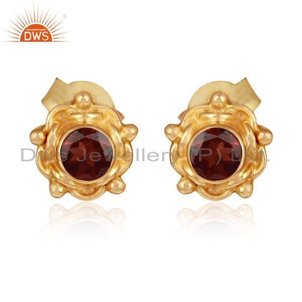 Garnet gemstone womens gold plated silver stud earrings jewelry