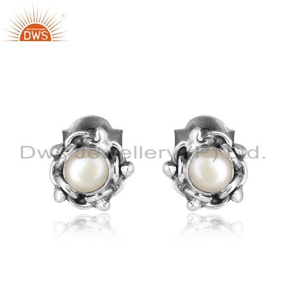 Natural pearl gemstone oxidized 925 sterling silver tiny earrings