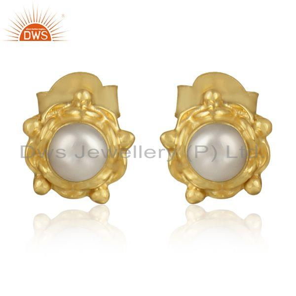 Natural Pearl Gemstone Handmade Gold Plated Silver Round Earrings