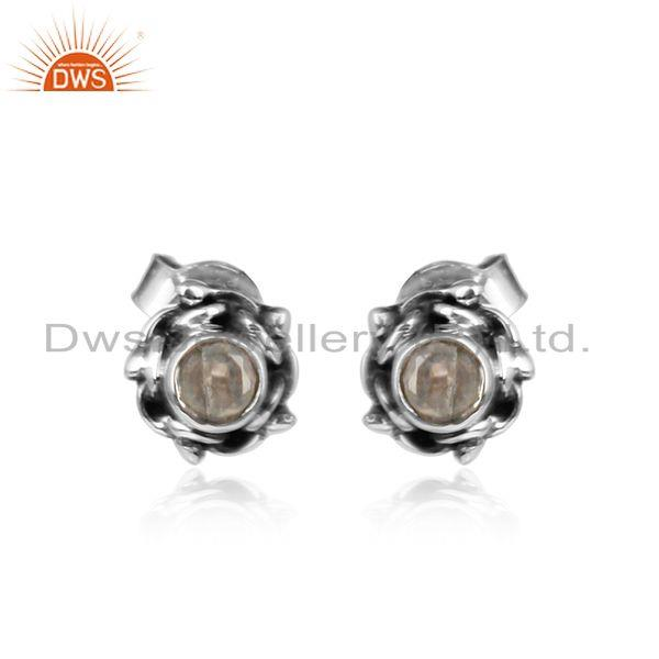 Rainbow Moonstone Designer Oxidized Silver Womens Stud Earrings