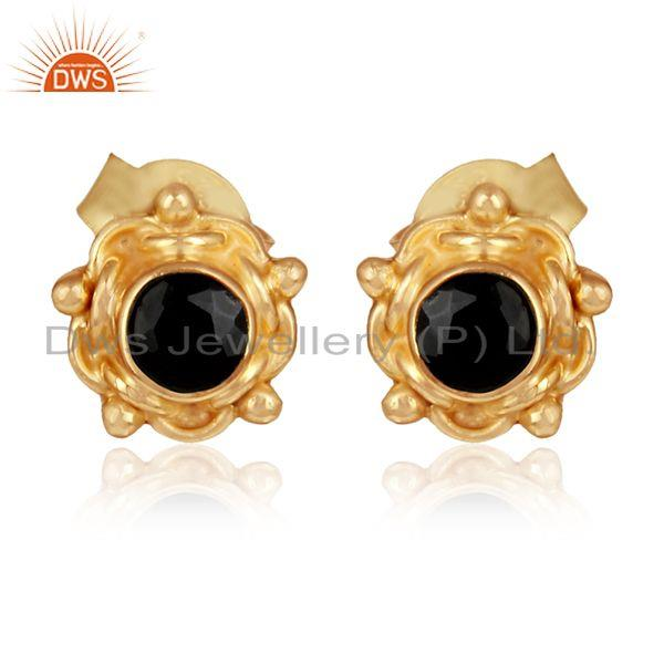Black onyx gemstone stud earrings gold plated silver jewelry
