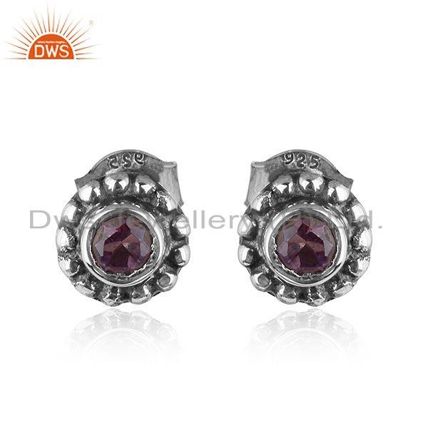Round Antique Design Oxidized 92.5 Silver Amethyst Stud Earrings