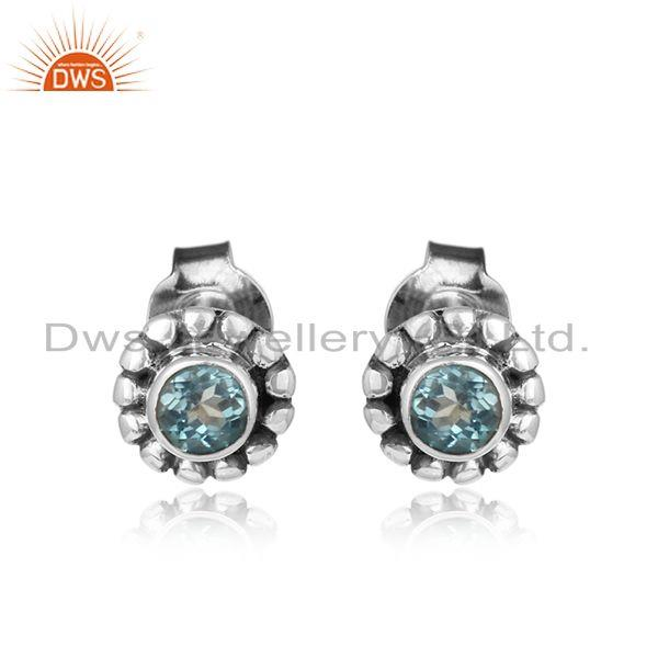 Oxidized 925 silver blue topaz gemstone antique stud earrings