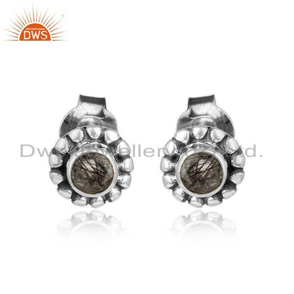 Round antique 925 silver oxidized black rutile gemstone earrings