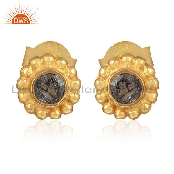 Black rutile gemstone handmade gold plated silver stud earring