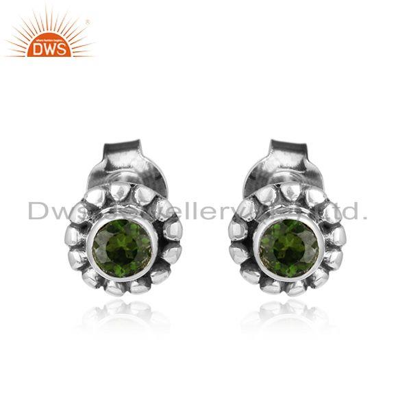 Chrome diopside gemstone antique oxidized silver stud earrings