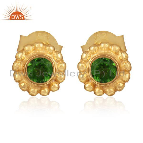 Flower gold on 925 silver chrome diopside gemstone stud earrings