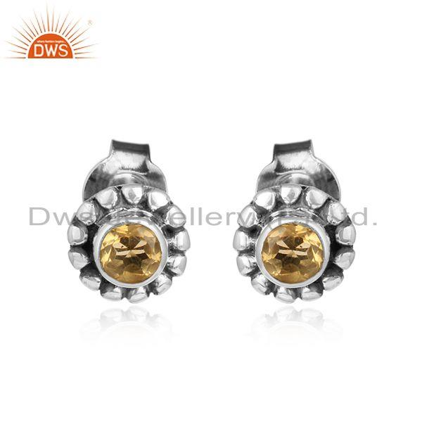 Citrine gemstone designer antique oxidized silver stud earrings