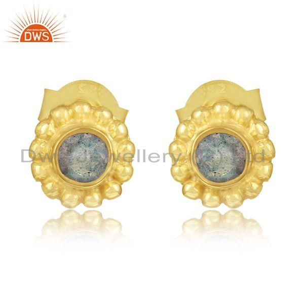 Designer Handmade Stud in Yellow Gold on Silver with Labradorite