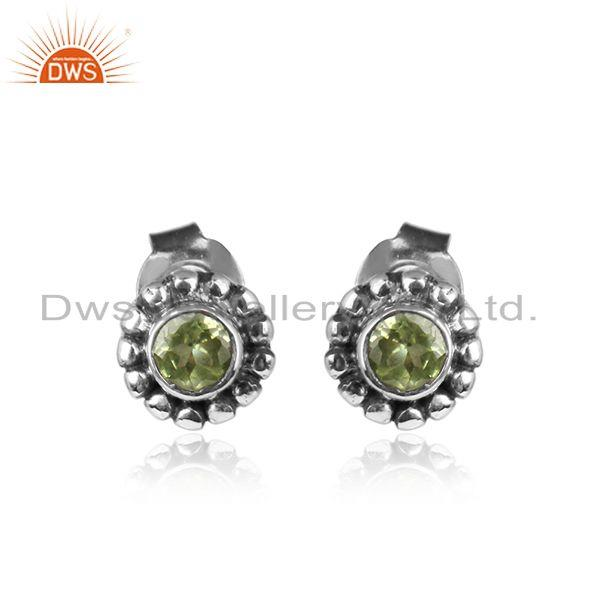 Peridot Gemstone Womens Oxidized Antique Silver Stud Earrings