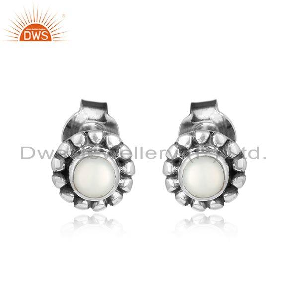 Natural pearl gemstone womens oxidized 925 silver stud earring