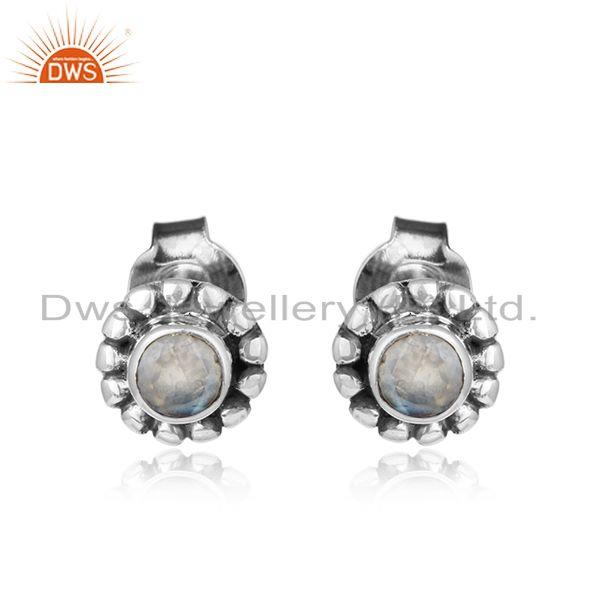 Rainbow Moonstone Gemstone Silver Oxidized Antique Stud Earrings