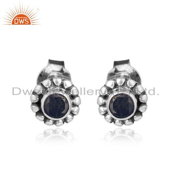 Blue sapphire gemstone designer tiny oxidized 925 silver earrings