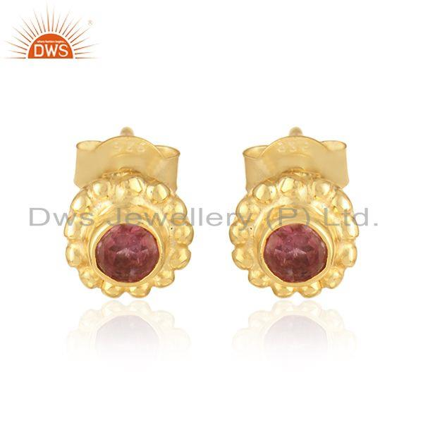 Designer Stud in Yellow Gold on Silver 925 with Pink Tourmaline