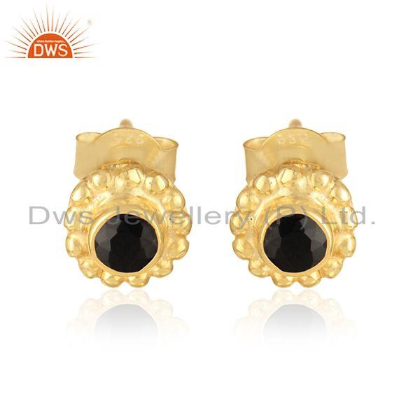 Handmade earring in yellow gold over silver 925 and black onyx