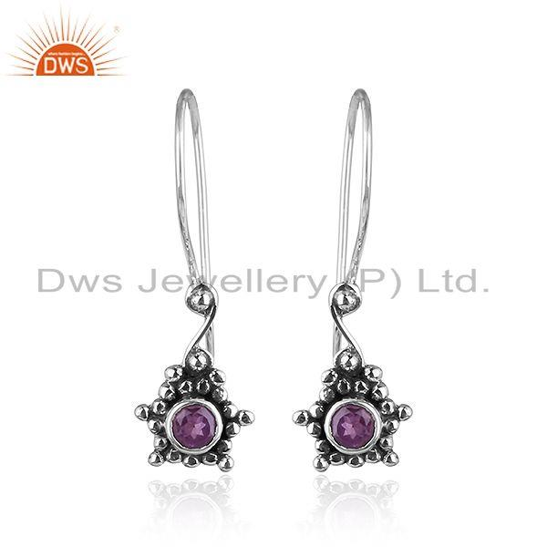 Amethyst Antique Design 925 Sterling Silver Hook Earrings Jewelry