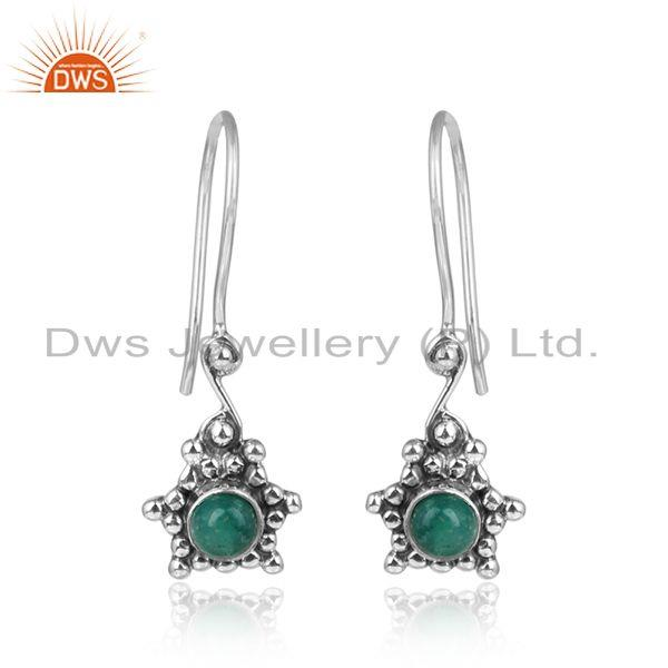 Amazonite Gemstone Oxidized Designer Silver Hook Earrings Jewelry