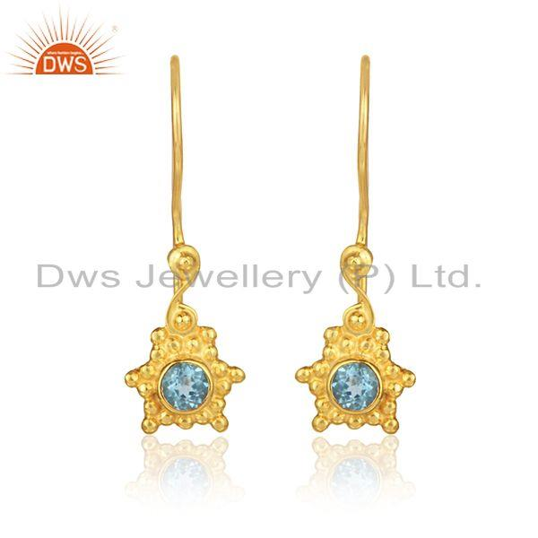 Designer Dangle Earring in Yellow Gold on Silver with Blue Topaz
