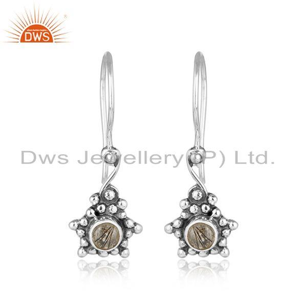 Black rutile gemstone designer oxidized 925 silver earrings jewelry