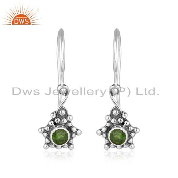 Chrome diopside gemstone designer oxidized silver womens earrings