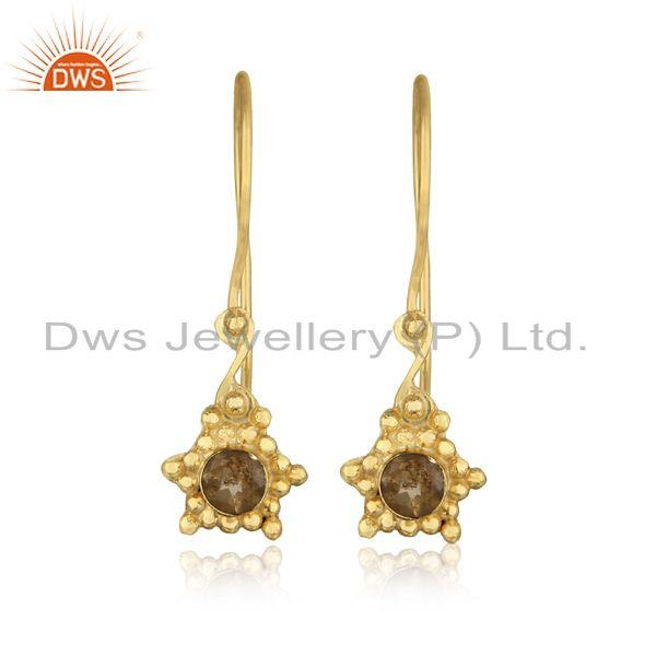 Designer Dangle Earring in Yellow Gold on Silver Studded with Citrine