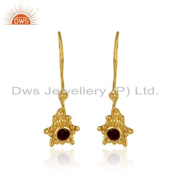 Handmade Earring in Yellow Gold Over Silver and Natural Garnet