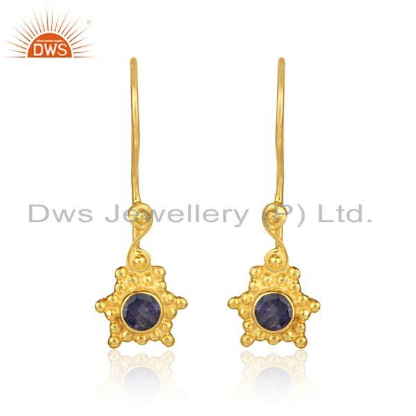 Designer dangle earring in yellow gold on silver with iolite