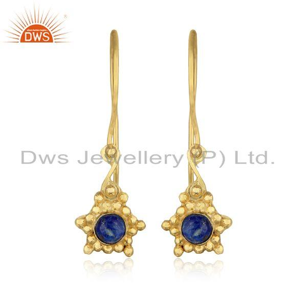 Handmade earring in yellow gold over silver and natural lapis